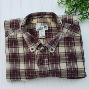LL Bean Brown Yellow Flannel Button Down sz XL